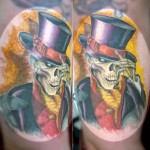 Skull Tattoo tattoos austin best texas awesome badass cute wicked dark evil men Victorian hat guys girls cool realism realistic color black and grey art male female men women colorbomb awesome